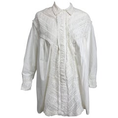 Victorian White Cotton Ruched Broderie Anglaise Eyelet Bed Jacket 1890s