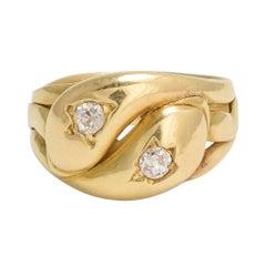 """Victorian White Diamond """"Twin Snake"""" 18 Karat Gold Ring"""