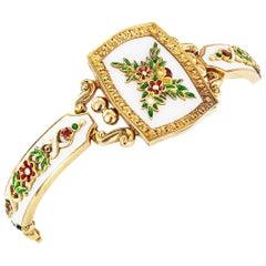 Victorian White Green Red Enamel Diamond Gold Bracelet