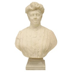 Victorian White Marble Lady Bust