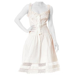 Victorian White Organic Cotton & Handmade Lace Chemise Corset Cover Dress