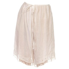 Victorian White Organic Cotton Lawn Couture Finished Knickers With Hand Embroid