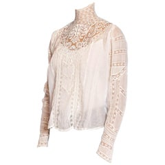 Victorian White Organic Cotton Voile & Floral Lace Swan Neck Blouse With Irish