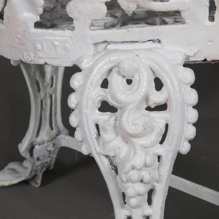Victorian White Painted Cast Iron Grape and Leaf Garden Bench, 20th Century For Sale 5