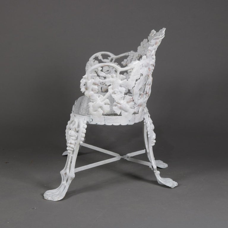 Victorian White Painted Cast Iron Grape and Leaf Garden Bench, 20th Century For Sale 6