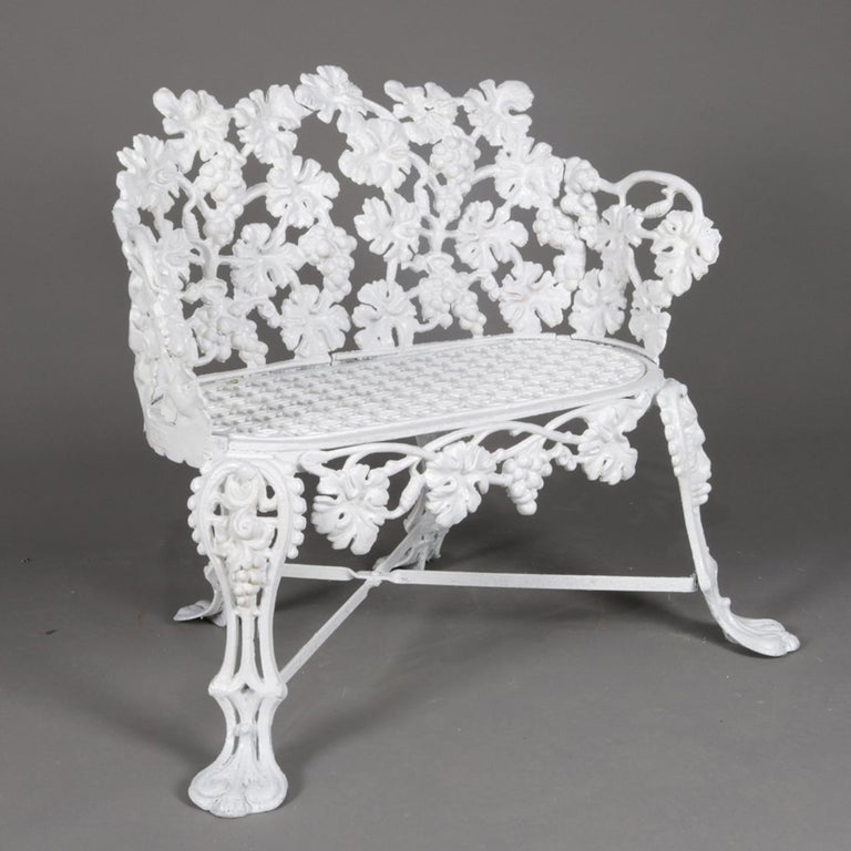 High Victorian Victorian White Painted Cast Iron Grape and Leaf Garden Bench, 20th Century For Sale