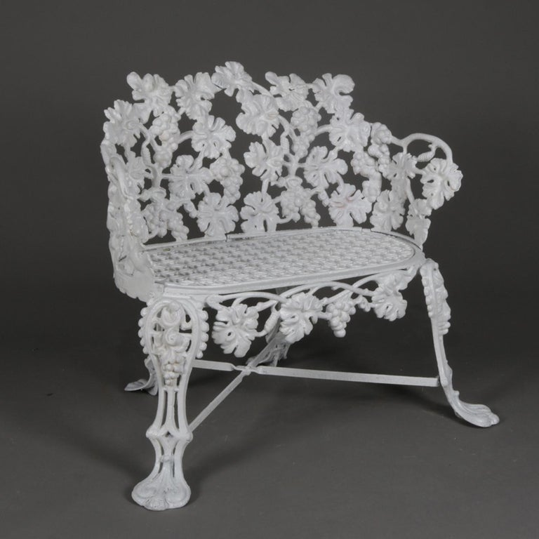 American Victorian White Painted Cast Iron Grape and Leaf Garden Bench, 20th Century For Sale