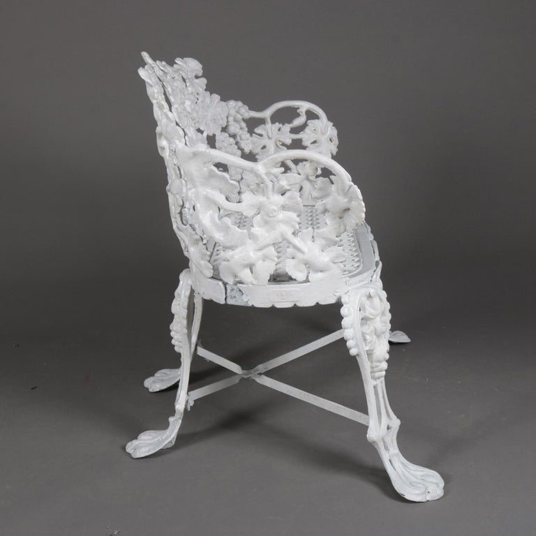 Victorian White Painted Cast Iron Grape and Leaf Garden Bench, 20th Century In Good Condition For Sale In Big Flats, NY