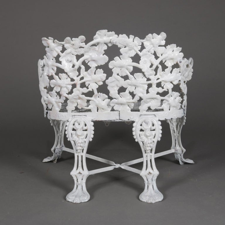 Victorian White Painted Cast Iron Grape and Leaf Garden Bench, 20th Century For Sale 3
