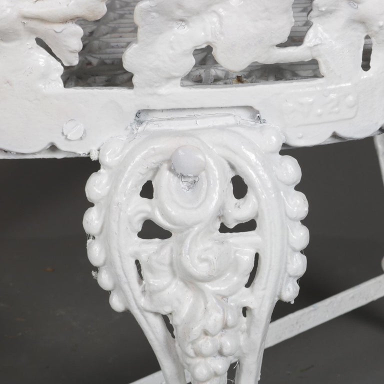Victorian White Painted Cast Iron Grape and Leaf Garden Bench, 20th Century For Sale 4