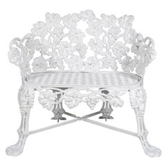Victorian White Painted Cast Iron Grape and Leaf Garden Bench, 20th Century