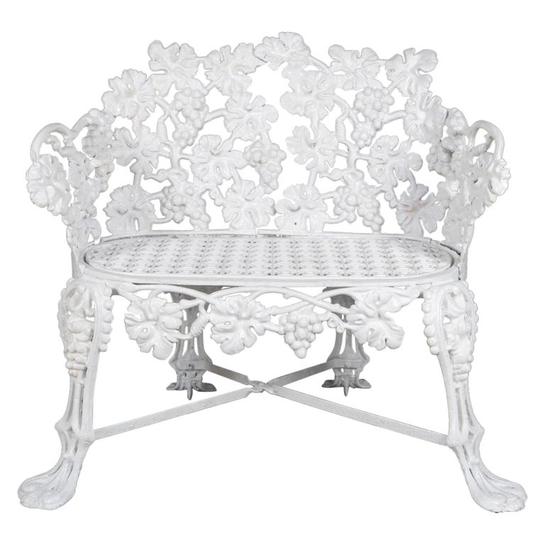 Victorian White Painted Cast Iron Grape and Leaf Garden Bench, 20th Century For Sale