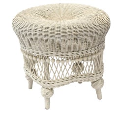 Victorian Wicker Beaded Foot Stool