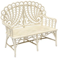 Victorian Wicker Love Seat Shell Back