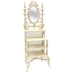 Victorian Wicker Mirrored Shaving or Vanity Stand with Shelves