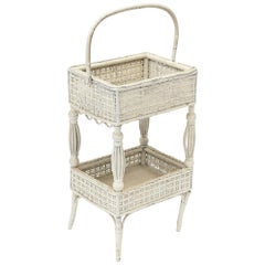 Victorian Wicker Open Sewing Stand with Work Basket below