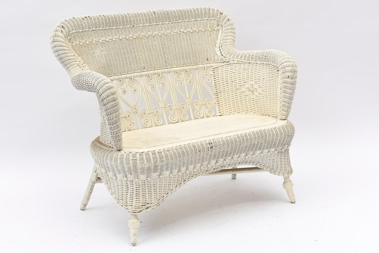 Victorian Wicker Parlor Set 'His, Her and Child's' Chairs, Settee and Rocker For Sale 4