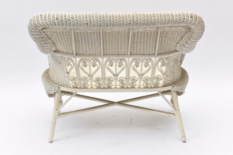Victorian Wicker Parlor Set 'His, Her and Child's' Chairs, Settee and Rocker For Sale 8