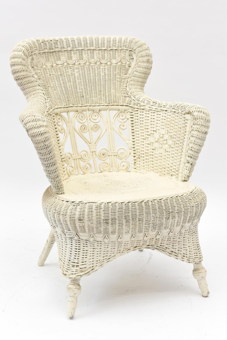 Victorian Wicker Parlor Set 'His, Her and Child's' Chairs, Settee and Rocker For Sale 9