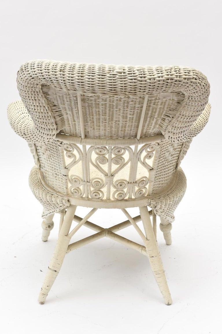 Victorian Wicker Parlor Set 'His, Her and Child's' Chairs, Settee and Rocker For Sale 11