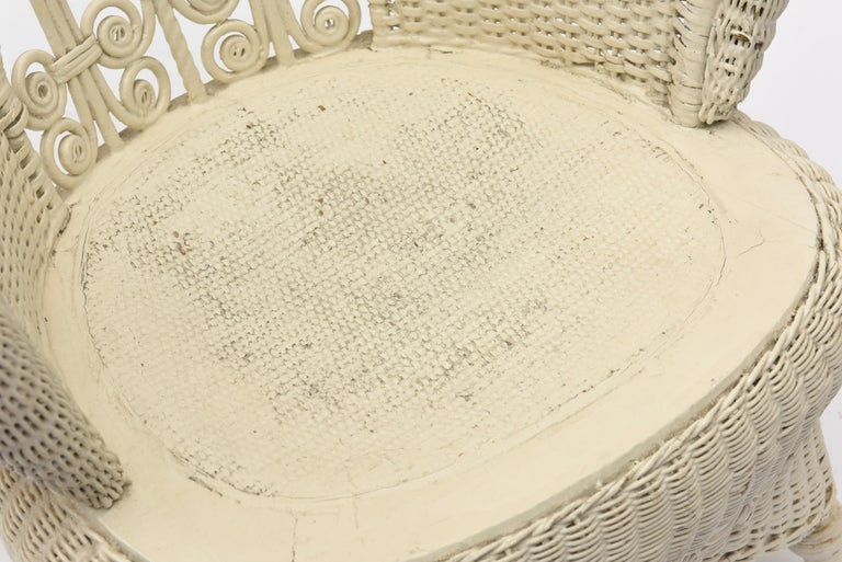 Victorian Wicker Parlor Set 'His, Her and Child's' Chairs, Settee and Rocker For Sale 12
