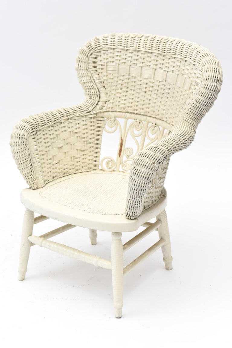 Victorian Wicker Parlor Set 'His, Her and Child's' Chairs, Settee and Rocker For Sale 13