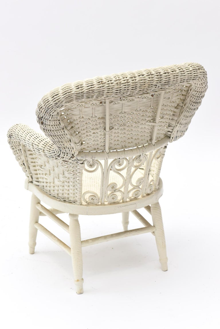 Victorian Wicker Parlor Set 'His, Her and Child's' Chairs, Settee and Rocker For Sale 14