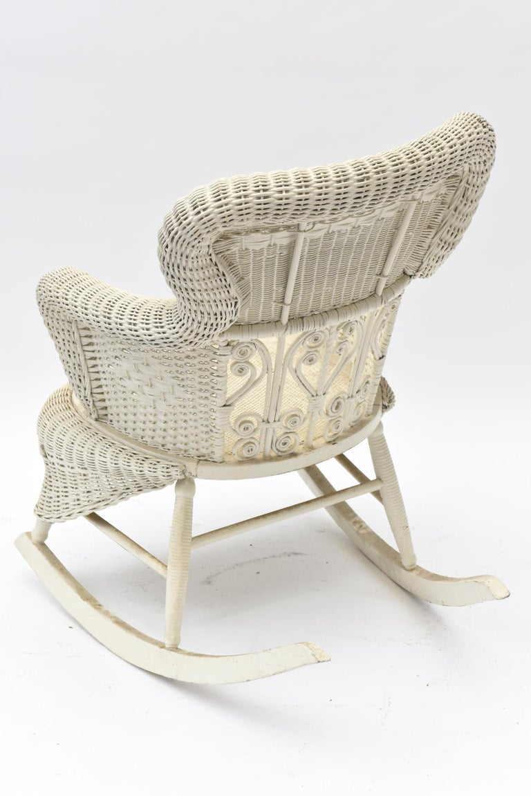 Woven Victorian Wicker Parlor Set 'His, Her and Child's' Chairs, Settee and Rocker For Sale