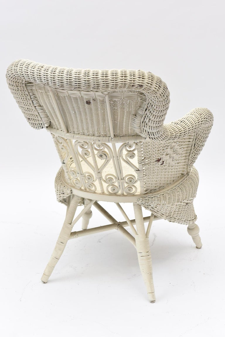 Victorian Wicker Parlor Set 'His, Her and Child's' Chairs, Settee and Rocker For Sale 1