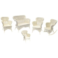 Victorian Wicker Parlor Set 'His, Her and Child's' Chairs, Settee and Rocker