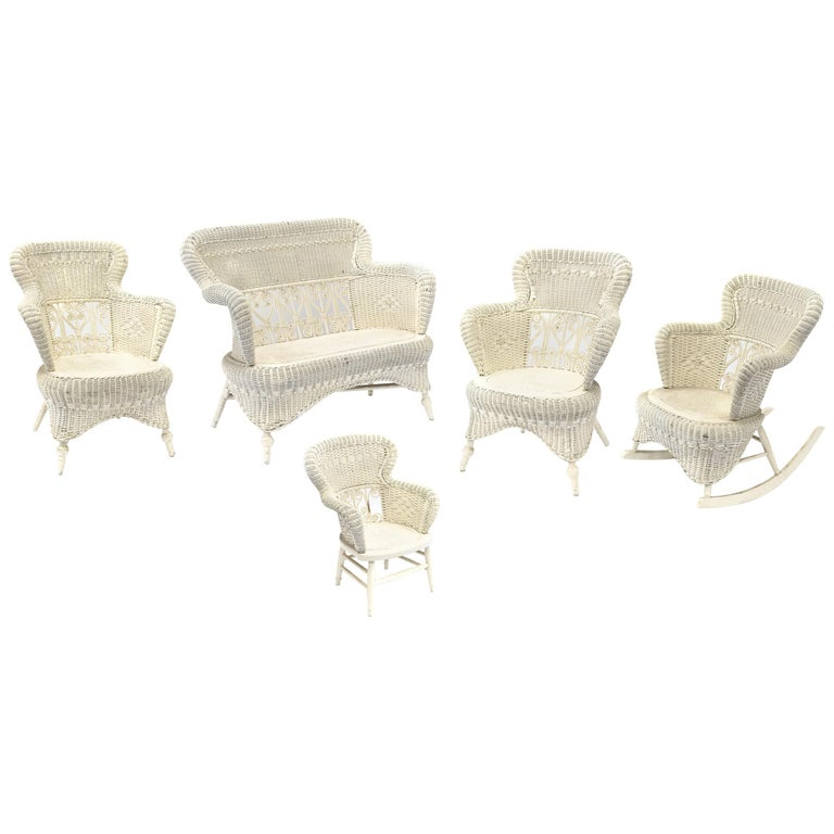 Victorian Wicker Parlor Set His Her And Child S Chairs