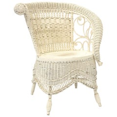Victorian Wicker Rolled Arm Portrait Chair