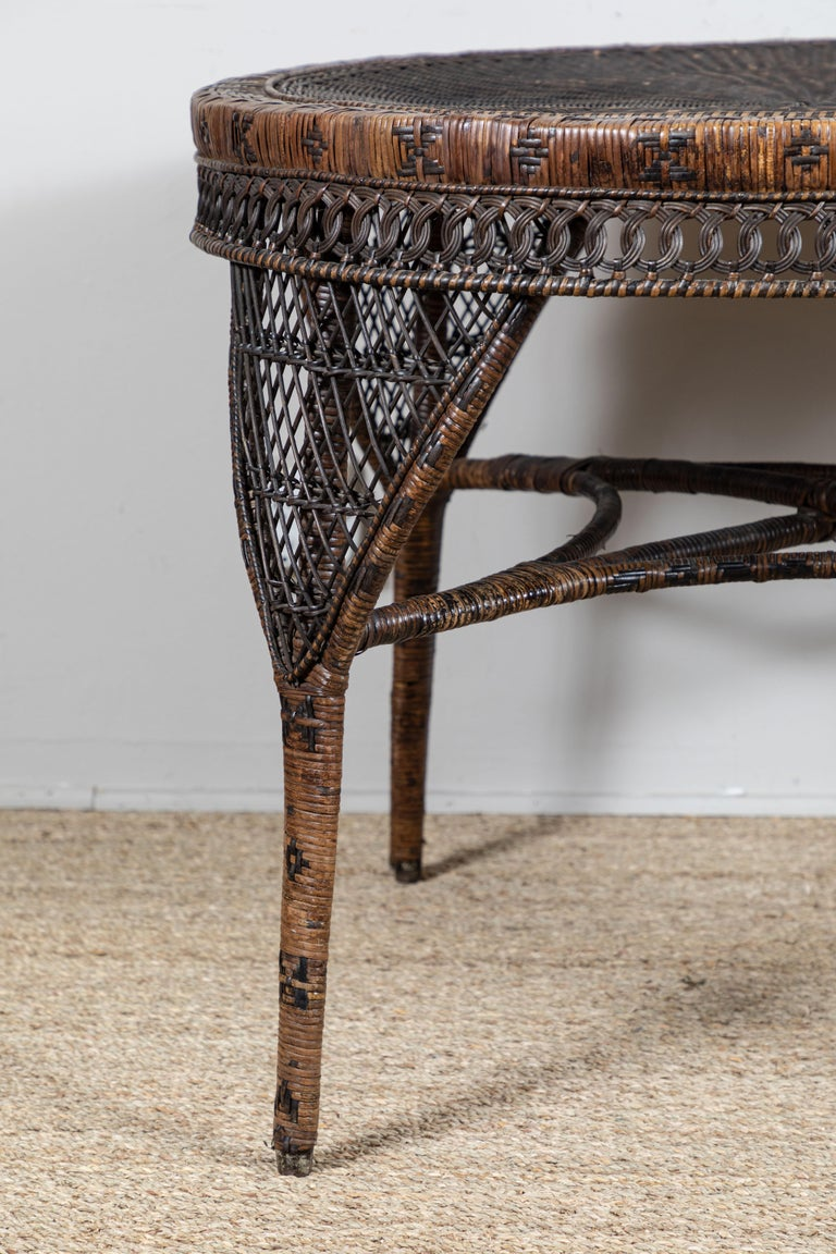 Woven Victorian Wicker Table For Sale