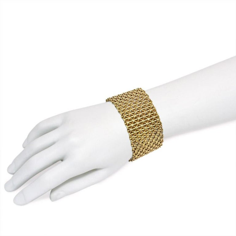 Women's or Men's Victorian Wide Gold Bracelet of Woven Links For Sale