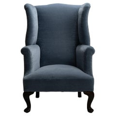 Victorian Wing Armchair in Teddy Mohair from Pierre Frey England, circa 1890