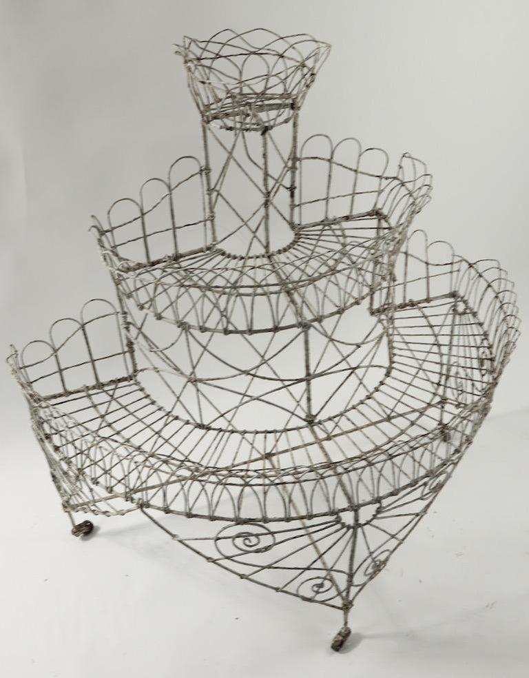 American Victorian Wire Plant Stand For Sale