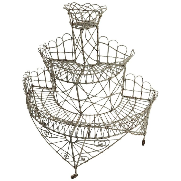 Victorian Wire Plant Stand For Sale