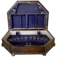 Victorian Wooden British Box , Sterling Silver, Late 19th Century