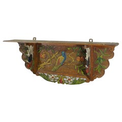 Victorian Wooden Shelve with Polychromic Painted Birds, circa 1920