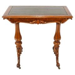 Victorian Writing Table Walnut Tulip Leg Desk, 1880