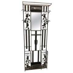 Victorian Wrought Iron Hall Stand Coat Rack with Art Deco Light & Flower Design
