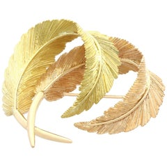 Victorian Yellow and Rose Gold Leaf Brooch