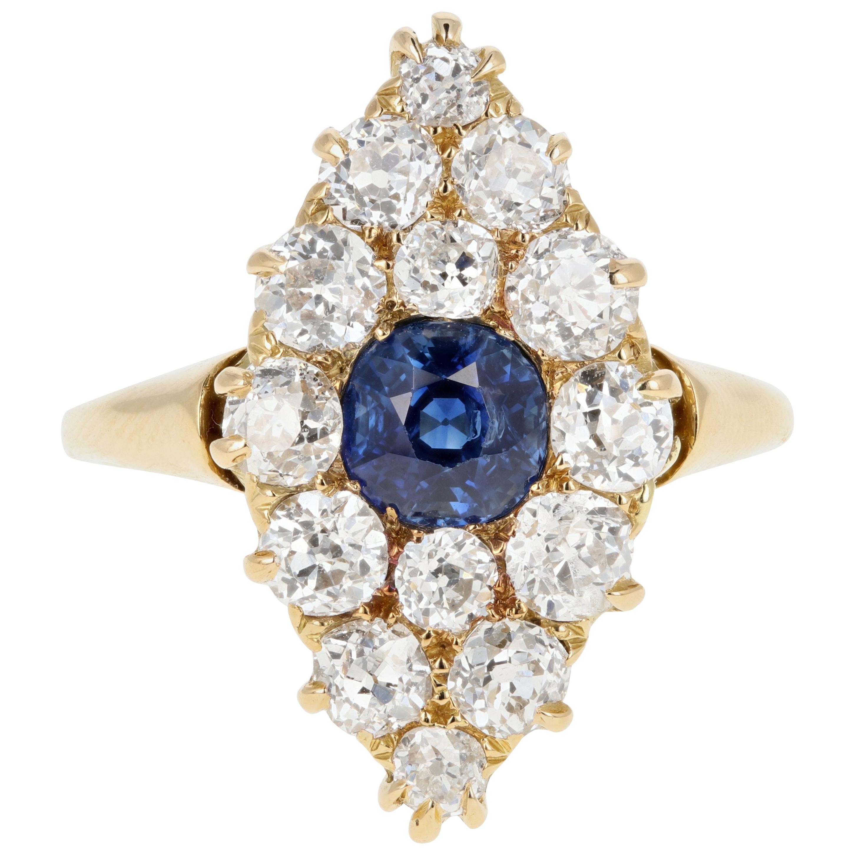Victorian Yellow Gold 1 Carat Natural No Heat Sapphire Diamond Navette Ring