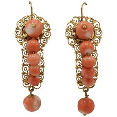 Victorian Yellow Gold and Coral Bead Dangle Drop Earrings