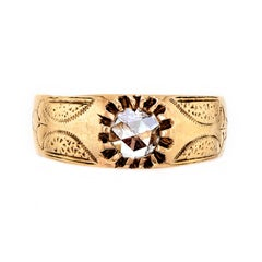 Victorian Yellow Gold and Rose-Cut Diamond Ring