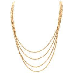Victorian Yellow Gold Belcher Long Guard Belcher Link Necklace