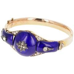 Victorian Yellow Gold Blue Enamel and Rose Cut Diamond Bangle