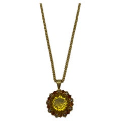 Victorian Yellow Gold, Citrine and Rose Cut Diamond Pendant Necklace