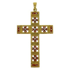 Victorian Yellow Gold Cross Pendant Diamond Enamel
