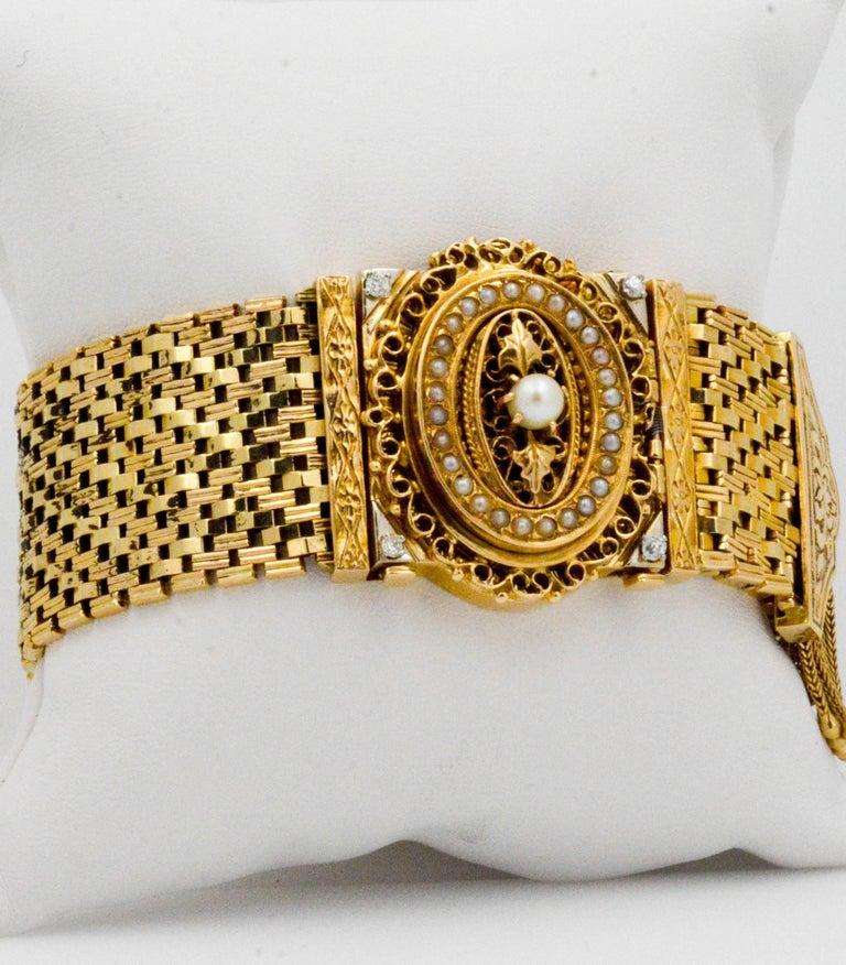 Victorian Yellow Gold diamond pearl Bracelet Watch / Pendant  For Sale 5